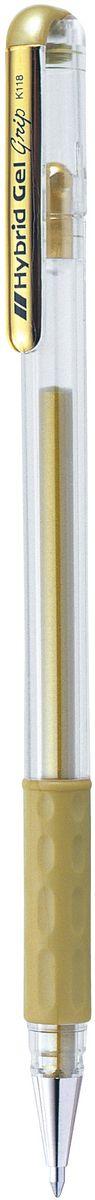 Pentel Ручка гелевая Hybrid Gel GripK118-XЯркие гелевые чернила Pentel Hybrid Gel Grip устойчивые к воде и свету. Пишут не только на белой, но и на темной и цветной бумаге. Используются для декоративного оформления. Чернила плотные, с высокой укрывистостью, равномерно ложатся на бумагу, без пробелов. Диаметр пишущего узла 0,8 мм. Толщина линии 0,4 мм. У ручки металлический пишущий узел, комфортная мягкая зона захвата.
