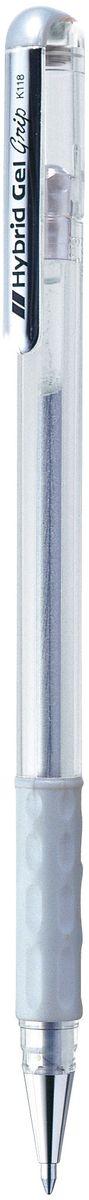 Pentel Ручка гелевая Hybrid RollerK118-ZЯркие гелевые чернила Pentel Hybrid Roller устойчивые к воде и свету. Пишут на темной и цветной бумаге. Используются для декоративного оформления. Чернила плотные, с высокой укрывистостью, равномерно ложатся на бумагу, без пробелов. Диаметр пишущего узла 0,8 мм. Толщина линии 0,4 мм. У ручки металлический пишущий узел, комфортная мягкая зона захвата.