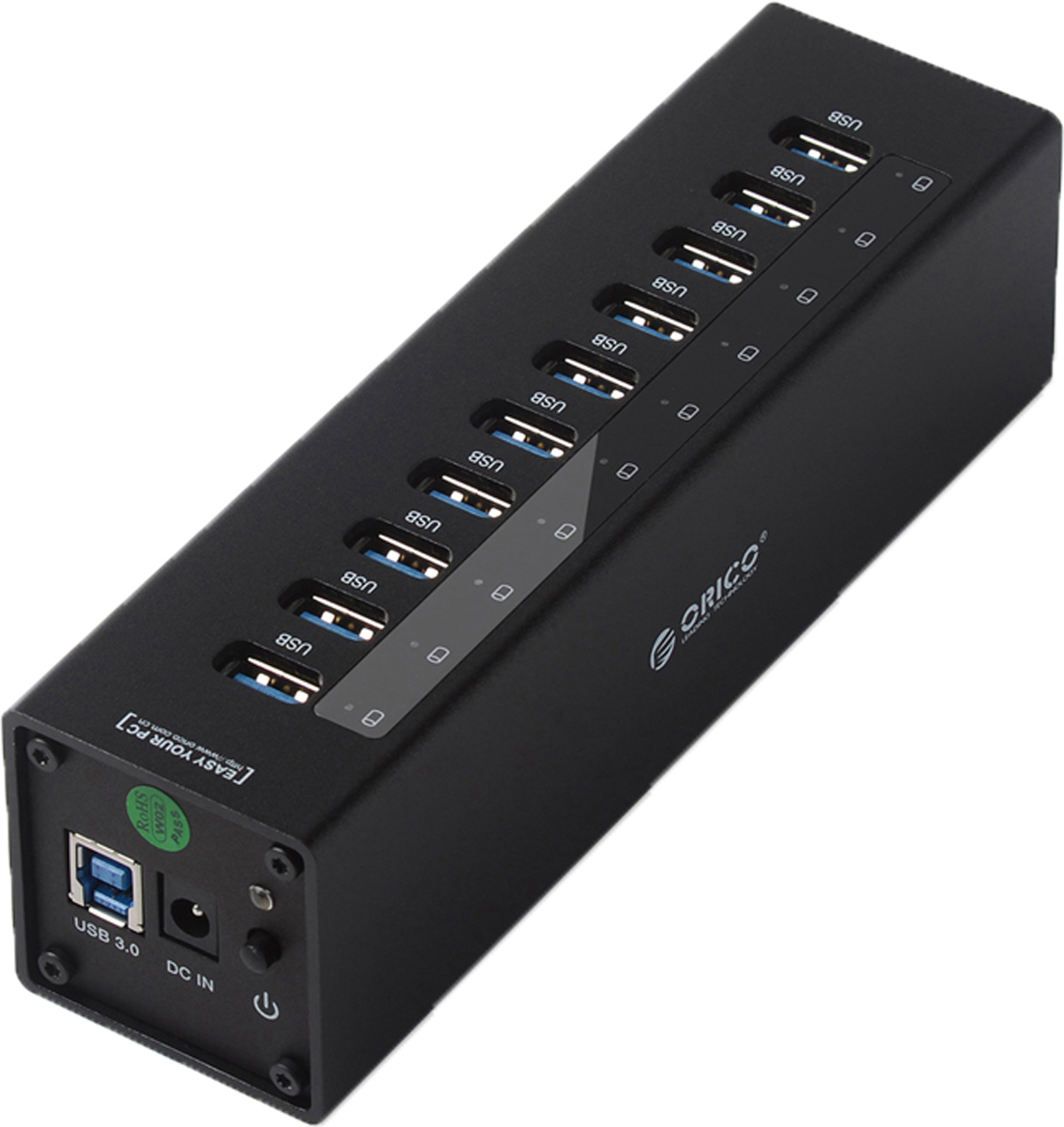 Orico A3H10, Black USB-концентратор aluminum 10 ports hub orico a3h10 sv usb3 0 splitter with 12v3a power adapter via labs vl812 chip silver