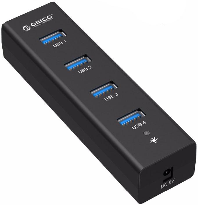Orico H4013-U3, Black USB-концентраторORICO H4013-U3-BKOrico H4013-U3 отлично дополнит любой ультрабук или ПК. Четыре порта USB 3.0 позволят подключить разнообразную периферию, а разъёмы USB 3.0 гарантируют высокую скорость передачи данных. Orico H4013-U3 оснащён двухъядерным контроллером Via-Labs VL812, который обеспечит стабильную работу концентратора при подключении большого количества устройств или при копировании больших объёмов данных на флешки или жёсткие диски. Все разъёмы Orico H4013-U3 обеспечивают скорость передачи данных в 5 Гбит/сек. Этой скорости с запасом хватит не только для подключения простой периферии, но и для жёстких дисков и быстрых флэш-накопителей. У Orico H4013-U3 компактный минималистичный дизайн, поэтому он может стать идеальным спутником во время поездок. Концентратор не требует установки драйверов и совместим с большинством популярных операционных систем: Windows XP, Vista, 7, 8, 8.1, 10, Mac OS и Linux.Orico H4013-U3 c четырьмя портами USB 3.0.Двухъядерный контроллер VIA Vl812, гарантирует эффективное использование энергии и высокую скорость передачи данных.Скорость передачи данных до 5 Гбит/c.Оснащен LED-индикатором питания.Характеристики:Источник питания: Питание по шине, Внешний блок питанияМатериал корпуса: Анодированный алюминийВход USB 3.0 Type AВыход USB 3.0 Type AUSB выходов: 4Стандарты USB: 3.0; 2.0; 1.1; 1.0Скорость сигнала: 5 Гбит/секПоддерживаемые ОС: Windows XP, Vista, 7, 8, 8.1, 10, Mac OS и LinuxИндикатор питания: LED синийГабариты 120x32x23 ммДлина кабеля 1 метр.