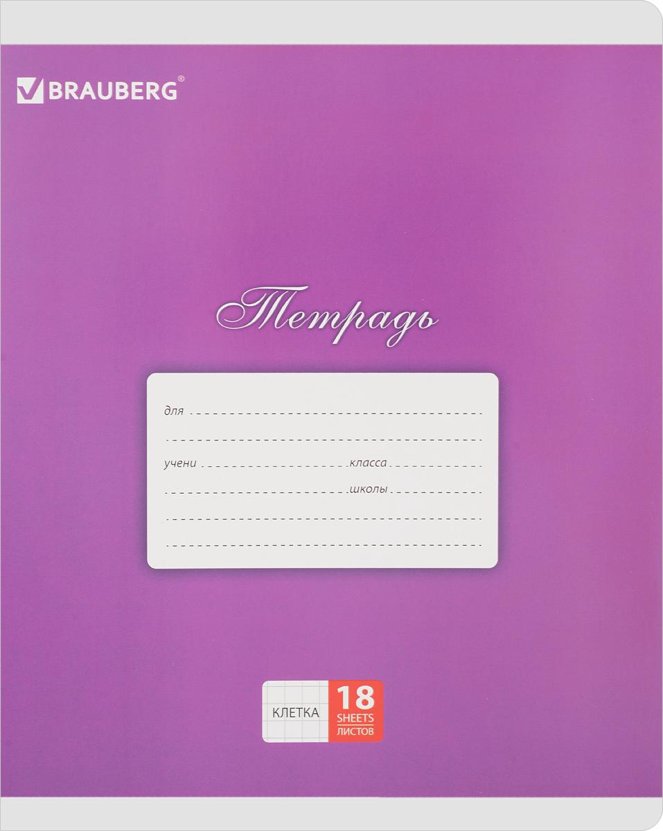 Brauberg Тетрадь Классика 18 листов в клетку цвет фиолетовый401991 _малиновыйОбложка тетради Brauberg Классика с закругленными углами выполнена из плотного картона, что позволит сохранить ее в аккуратном состоянии на протяжении всего времени использования. На задней обложке находятся меры длины, меры объема, меры массы, меры площади и таблица умножения.Внутренний блок тетради, соединенный двумя металлическими скрепками, состоит из 18 листов белой бумаги. Стандартная линовка в клетку голубого цвета дополнена полями.
