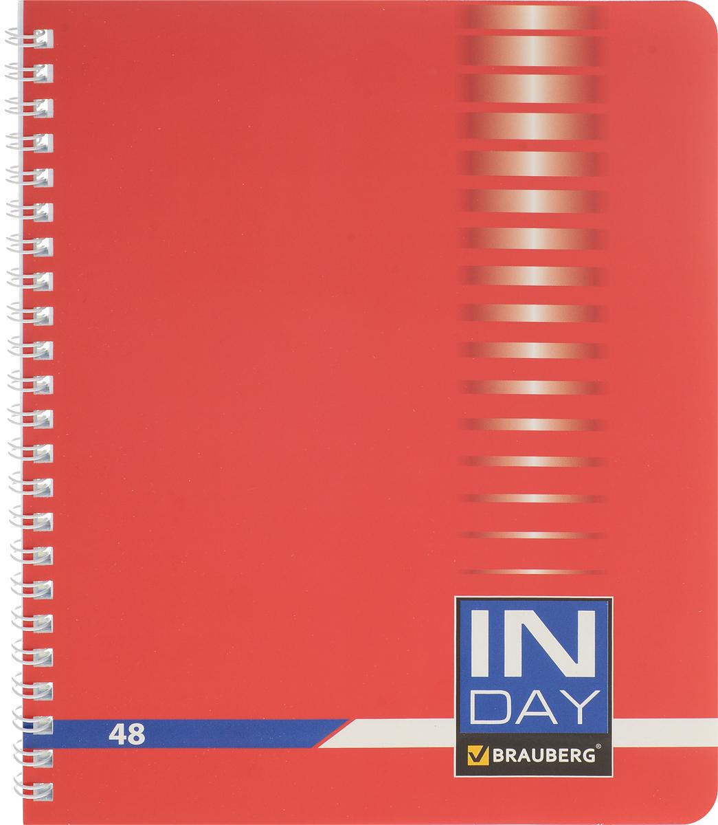 Brauberg Тетрадь In Day 48 листов в клетку цвет красный400524_красныйТетрадь Brauberg In Day для учебы и работы.Обложка, выполненная из плотного мелованного картона, позволит сохранить тетрадь в аккуратном состоянии на протяжении всего времени использования.Внутренний блок тетради, соединенный гребнем, состоит из 48 листов белой бумаги. Стандартная линовка в клетку голубого цвета не имеет полей. Страницы тетради дополнены микроперфорацией для удобного отрыва листов.