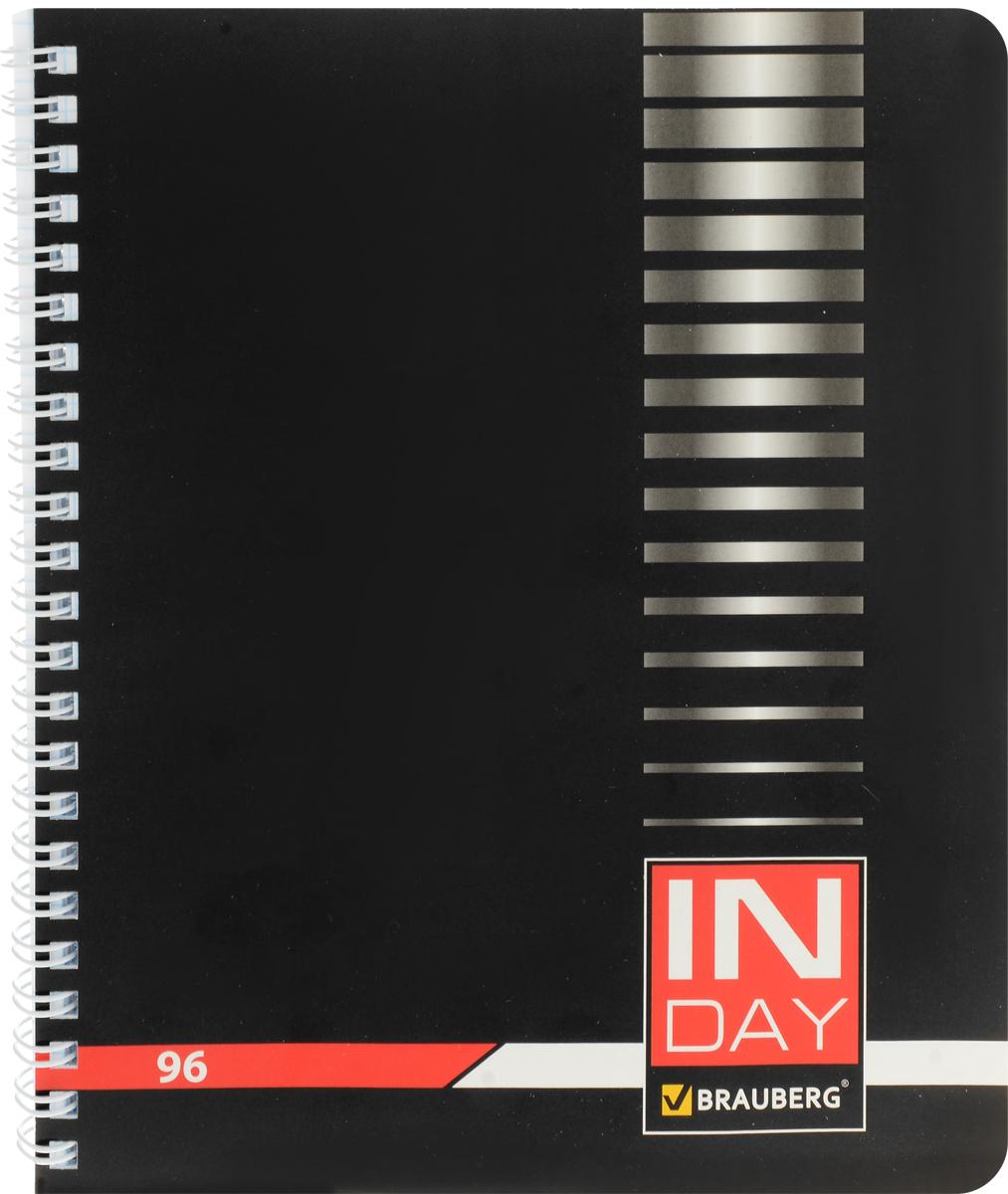 Brauberg Тетрадь In Day 96 листов в клетку цвет черный 400526400526Тетрадь Brauberg In Day на металлическом гребне пригодится как школьнику, так и студенту.Такое практичное и надежное крепление позволяет отрывать листы и полностью открывать тетрадь на столе. Обложка изготовлена из импортного мелованного картона. Внутренний блок выполнен из высококачественного офсета в стандартную клетку без полей. Тетрадь содержит 96 листов. Страницы тетради дополнены микроперфорацией для удобного отрыва листов.