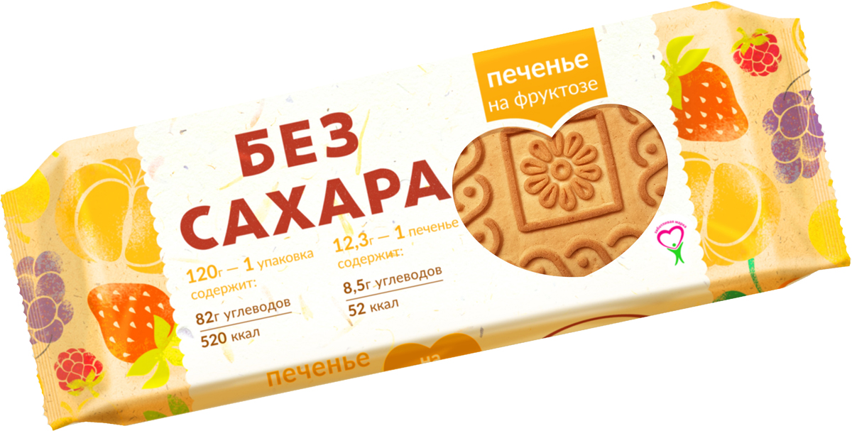 Печенье без сахара на фруктозе, 120 г конфеты шоколадные kinder choco bons 46 г