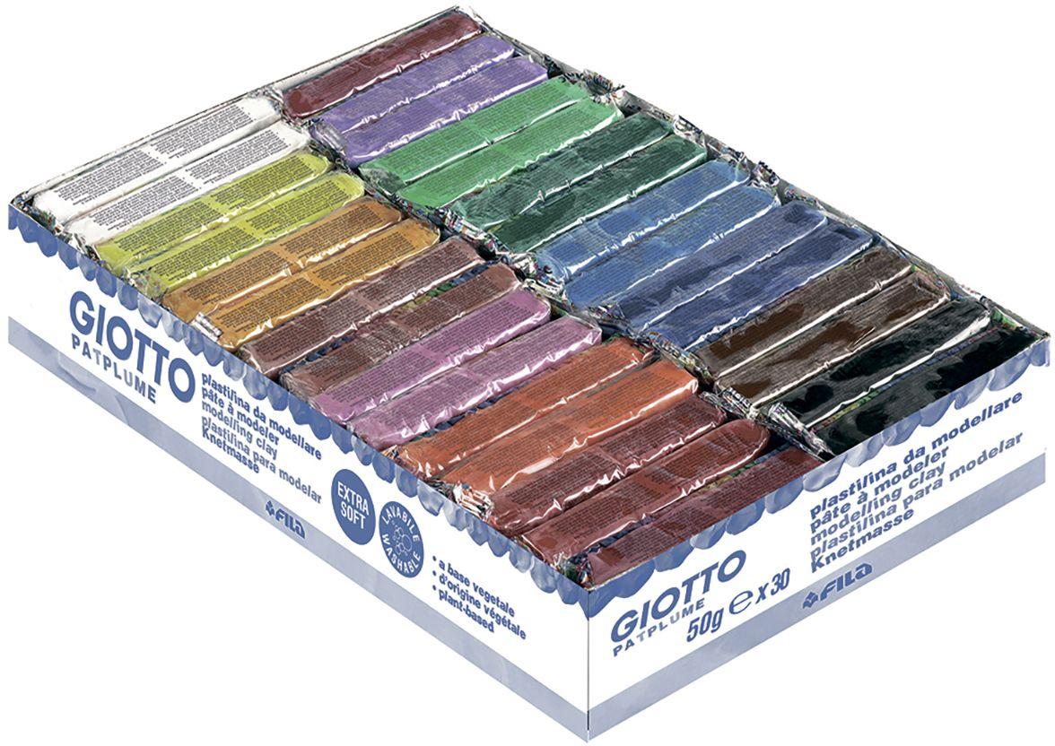 Giotto Пластилин Patplume 30 шт512000Пластилин Giotto Patplume - это уникальный пластилин, состоящий из тридцати брусочков. Всего 15 ярких цветов по 50 грамм. Экстра-мягкий пластилин изготовлен на 100% растительной основе и пищевых красителях. Не содержит глютен и продукты нефтепереработки, что обеспечивает полную безопасность в использовании самыми маленькими детьми, а также при случайном проглатывании. Не прилипает к рукам, не оставляет грязных следов, легко счищается с любых поверхностей. В основе используется приятная парфюмерная отдушка известного детского косметического бренда. Не затвердевает на воздухе. Можно использовать различные техники лепки, рисования, моделирования.