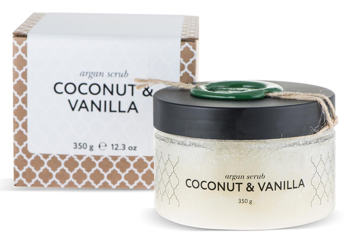 Huilargan Аргановый скраб солевой, кокос-ваниль, 350 г2000000002415Скраб очищает, улучшает состояние клеток, регенерирует, делает рельеф кожи гладким, а общее состояние здоровым. Все компоненты и сам продукт получены природным. После процедуры на коже остается легкий опьяняющий аромат кокоса и ванили.