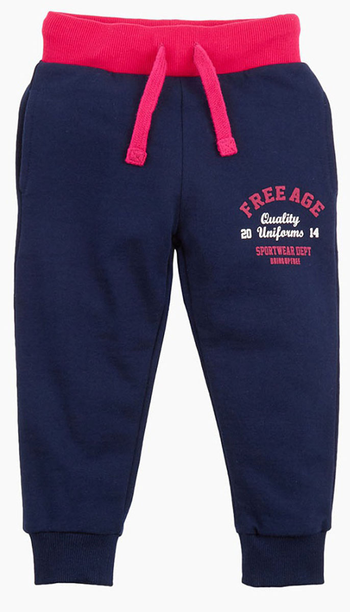 Брюки спортивные для девочки Free Age, цвет: фуксия, синий. ZG 10251-FB-2. Размер 146, 10 лет брюки спортивные для девочки free age