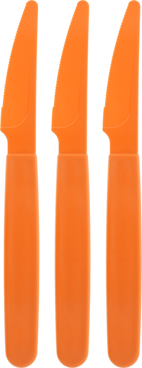 Набор столовых ножей Gotoff, цвет: оранжевый, длина 19 см, 3 шт набор банок для пищевых продуктов цвет зеленый оранжевый бордовый 3 шт