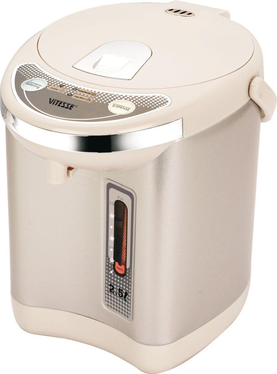 Vitesse VS-117VS-117Термопот Vitesse VS-117 позволяет кипятить воду и сохранять ее горячей втечение длительного времени. Это позволяет не только в любой момент получитьгорячую воду, но и сэкономить электроэнергию, так как не нужно будет кипятитьее снова и снова. Стильный и аккуратный термопот Vitesse с объемной колбой инесколькими температурными режимами позволяет вам быстро приготовитьнужный напиток или блюдо, используя воду оптимальной температуры, а дети илипожилые люди смогут безопасно и быстро, не поднимая тяжелый чайник, налитьсебе чашку вкусного чая.