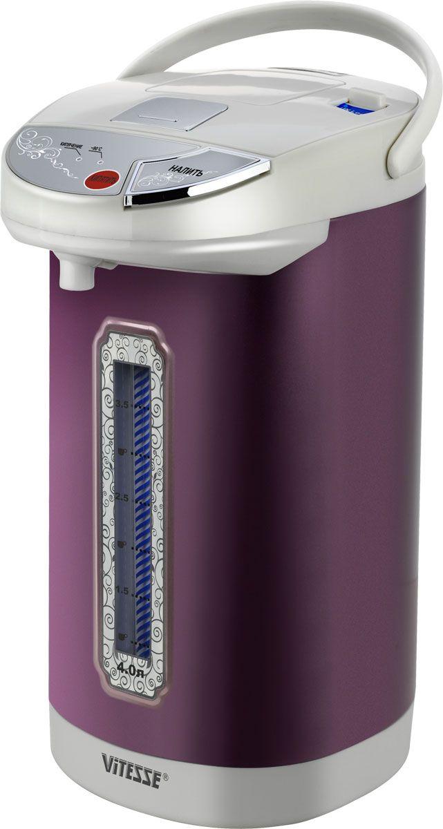Vitesse VS-162, Purple термопотVS-162-purpleТермопот VITESSE VS-162 при непрерывном подключении к сети будет всегда поддерживать воду в колбе в горячем состоянии. Благодаря этому вы в любой момент сможете угостить гостей хорошо заваренным свежим чаем. Объем колбы 4 л. За один раз напоить горячим напитком возможно большую компанию. Аппарат имеет индикатор уровня воды, и вы не пропустите момент, когда необходимо дополнить резервуар. Длина сетевого шнура равна 1,2 м, что позволит разместить термопот в удобном для вас месте. Нержавеющая сталь, из которой выполнены покрытие нагревательного элемента и стенки колбы, обеспечит долговечность прибора.Съемная крышка Съемный шнур питания Термоизолированный корпус Автоматическая помпа Ручная помпа Функция повторного кипячения Внутренние стенки из нержавеющий стали