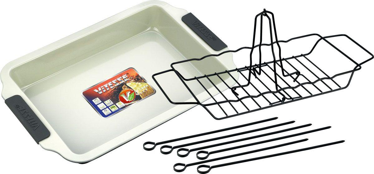 Набор для гриля Vitesse, 10 предметовVS-2356Набор для гриля Vitesse состоит из большого противня, складнойподставки для курицы, решетки-гриль, 6 шампуров и 2 прихваток. Комплектидеален для приготовления потрясающе вкусных блюд, вся входящая вего состав посуда имеет антипригарное керамическое покрытие класса премиум.Набор приспособлен для духового шкафа. Набор для гриля с подарком.Подарок: 2 прихватки.