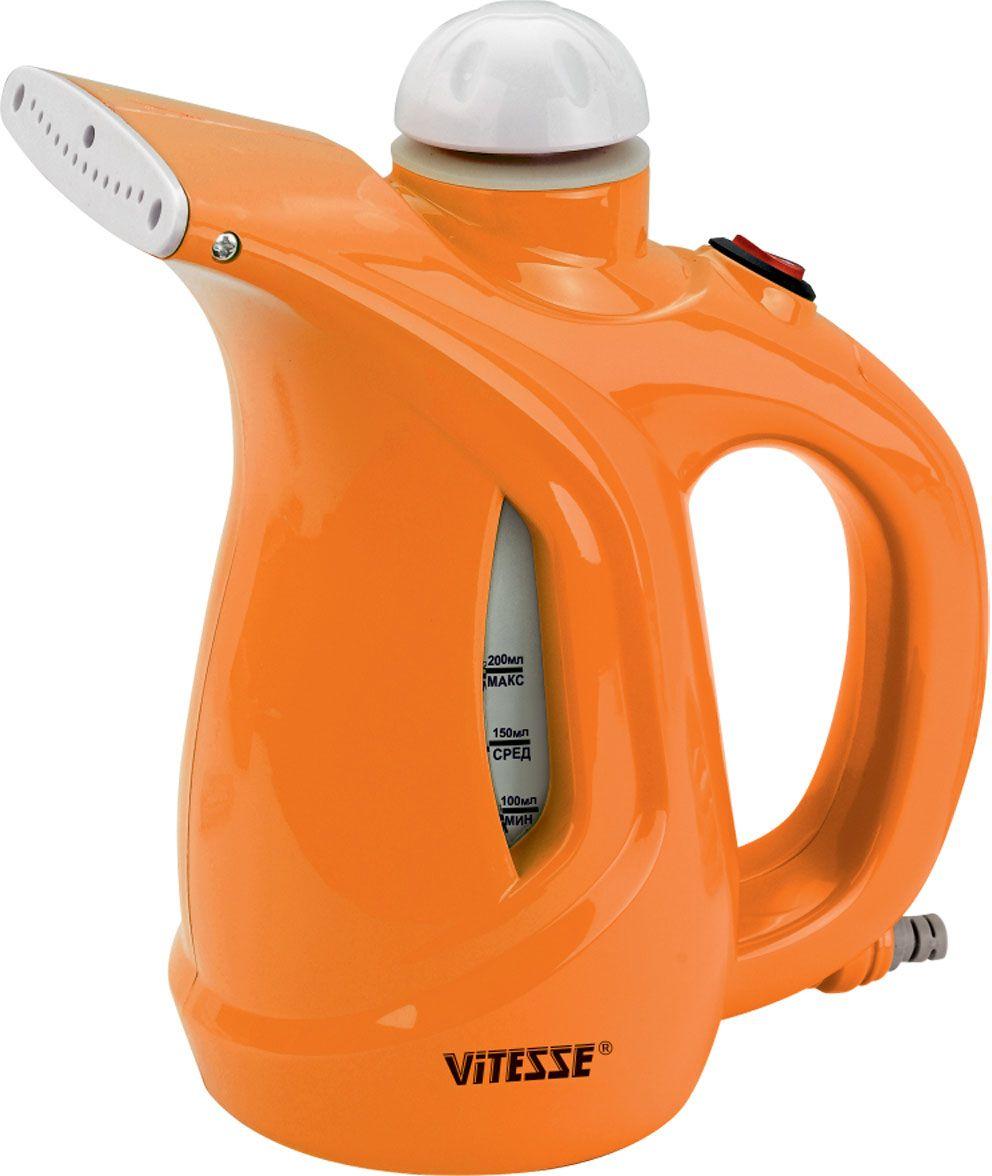 Vitesse VS-695 отпаривательVS-695-orangeКомпактный ручной отпариватель Vitesse VS-695 подойдет для обработки одежды, штор и других текстильных вещей. Vitesse VS-695 может работать в 2х режимах интенсивности пара. Отпариватель не просто разглаживает вещи, но еще и очищает от пыли и шерсти, а также производит дезинфекцию.
