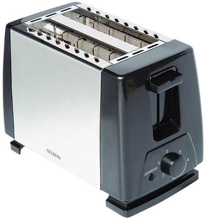 Gelberk GL-555 тостерGL-555Gelberk GL-555 - настоящая находка для больших любителей поджаренных хлебцев. Простой, но функциональный тостер позволит вам в считанные секунды приготовить идеальный завтрак для всей вашей семьи.Благодаря двум отделениям для хлеба, процесс поджаривания станет еще быстрее. Поворотный регулятор степени обжарки позволит вам самостоятельно определять необходимый режим для получения идеальных подрумяненных хлебцев.