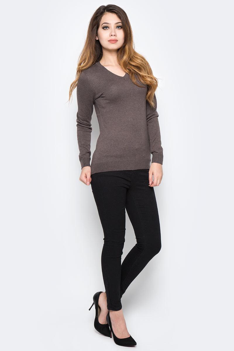 Пуловер женский Sela, цвет: коричневый. JR-114/1149-7390. Размер S (44)JR-114/1149-7390Уютный женский пуловер Sela - это тепло и уют в любой ситуации. Модель приталенного кроя с длинными рукавами изготовлена из качественного трикотажа мелкой вязки. V-образный вырез горловины, манжеты рукавов и низ изделия связаны резинкой. Модель подойдет для офиса, прогулок и дружеских встреч, будет отлично сочетаться с джинсами и брюками, а также гармонично смотреться с юбками. Мягкая ткань на основе нейлона, шерсти и акрила хорошо тянется и приятна на ощупь.