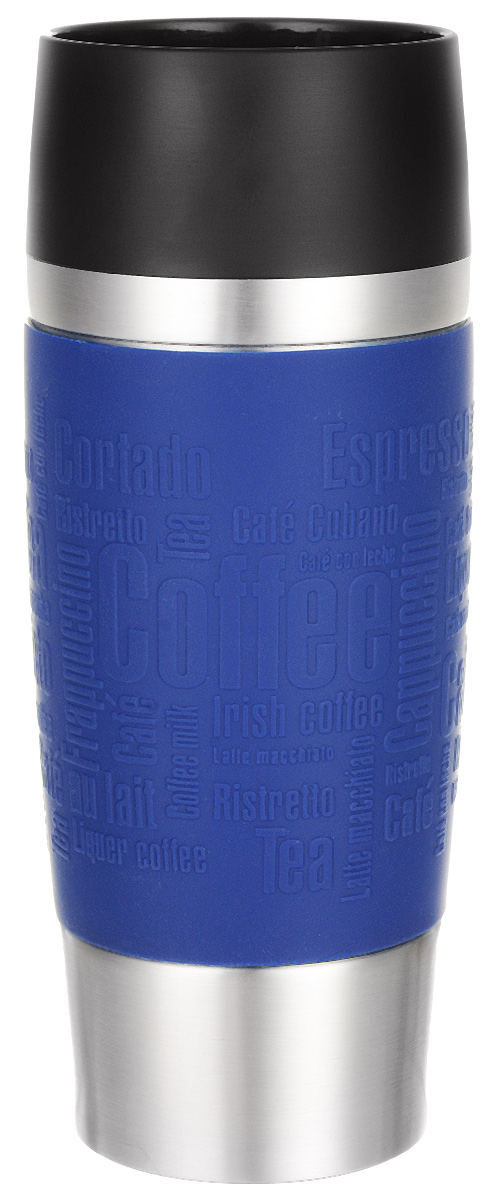 Термокружка Emsa Travel Mug, цвет: синий, 360 мл513357Термокружка Emsa Travel Mug - это идеальный попутчик в дороге - не важно, по пути ли на работу, в школу или во время похода по магазинам. Вакуумная кружка на 100% герметична. Кружка имеет вакуумную колбу из нержавеющей стали с двойными стенками, благодаря чему температура жидкости сохраняется долгое время. Кружку удобно держать благодаря силиконовому покрытию Soft Touch с оригинальным рельефом в виде надписей. Изделие открывается нажатием кнопки. Пробка разбирается и превосходно моется. Дно кружки выполнено из противоскользящего материала. Можно мыть в посудомоечной машине. Диаметр кружки по верхнему краю: 8 см.Диаметр дна кружки: 6,5 см.Высота кружки: 20 см.Сохранение холодной температуры: 8 ч.Сохранение горячей температуры: 4 ч.