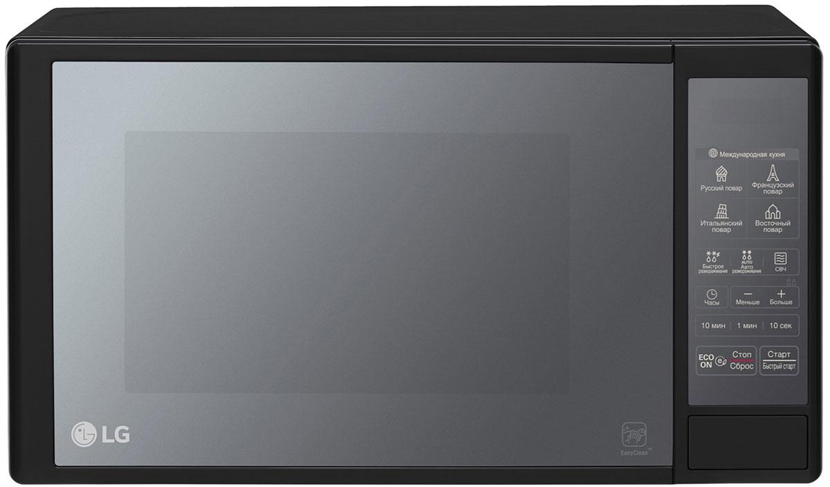 LG MW20R46DARB, Black СВЧ-печьMW20R46DARBМикроволновая печь LG MW20R46DARB со специальным легкоочищаемым покрытием, технологией i-Wave и 32 уникальными программами.Специальное легкоочищаемое покрытие LG EasyClean устойчиво к механическим повреждениям и впитыванию жира, благодаря чему частички пищи не прилипают к стенкам печи и легко очищаются. Компания LG предоставляет 10 лет гарантии на покрытие EasyClean.Благодаря технологии i-Wave, микроволны в печи распространяются равномерно, обеспечивая глубокое проникновение тепла как по центру, так и по краям блюд. Особая конструкция внутренней стенки помогает волнам распространяться по всему объему камеры, что обеспечивает более равномерное приготовление.32 уникальные программы, позволяющие без усилий приготовить блюда по традиционным рецептам французской, итальянской, восточной и русской кухни. Достаточно лишь заложить необходимые продукты в камеру и выбрать подходящее меню, а печь сама установит оптимальный режим приготовления блюда.По окончании работы нажмите специальную кнопку ECO ON, чтобы перевести печь в режим энергосбережения. Эта функция позволит вам контролировать уровень интенсивности подсветки дисплея и освещения.Диаметр поворотного стола: 245 мм