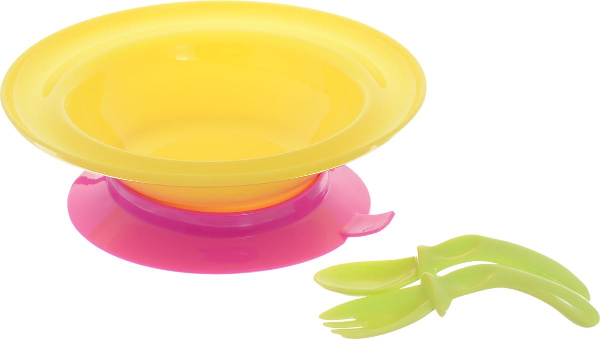 """Набор для кормления """"Lubby"""" включает в себя тарелку, вилку и ложку.Тарелка на присоске с приборами незаменима в период, когда ваш малыш учится кушать самостоятельно. Специальная изогнутая форма ложки и вилки комфортно размещается в руке малыша для удобства приема пищи. Присоска позволяет надежно прикрепить тарелку к столу. Для снятия тарелки со стола необходимо потянуть за язычок.Подходит для посудомоечных машин и микроволновых печей."""