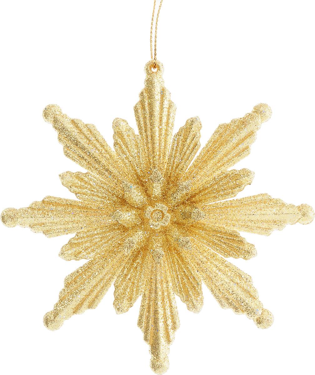 Украшение новогоднее подвесное Феникс-презент Снежинка, цвет: золотистый, диаметр 11 см новогоднее подвесное украшение снежинка цвет золотистый 25104