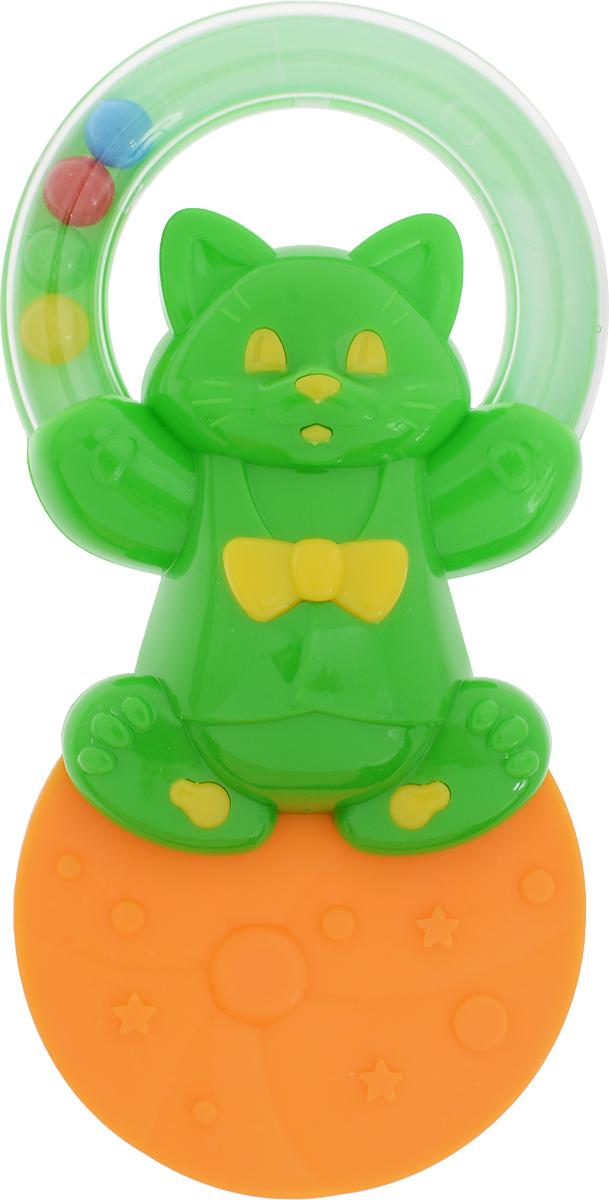 Stellar Погремушка-прорезыватель Жонглер Котик цвет зеленый оранжевый