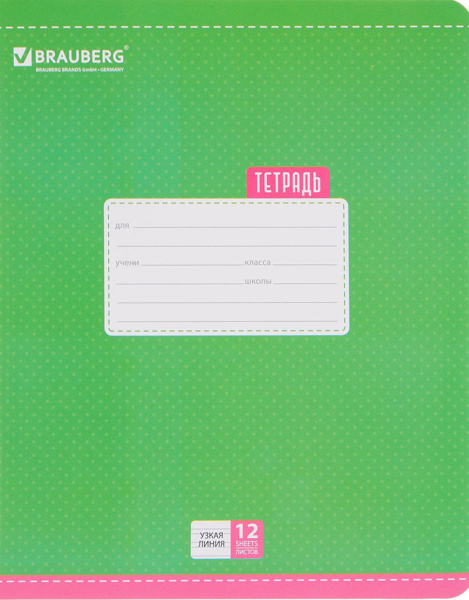 Brauberg Тетрадь Dots 12 листов в узкую линейку цвет зеленый103035_зеленыйОбложка тетради Brauberg Dots с закругленными углами выполнена из плотного картона, что позволит сохранить ее в аккуратном состоянии на протяжении всего времени использования. На задней обложке находится русский алфавит.Внутренний блок тетради, соединенный двумя металлическими скрепками, состоит из 12 листов белой бумаги. Стандартная линовка в узкую линейку голубого цвета дополнена полями.