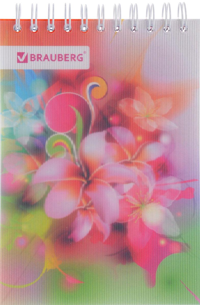 Brauberg Блокнот Чувство Цветы 80 листов в клетку125381_зеленый, розовый, цветыСтильный блокнот Brauberg для записей и заметок с женственным дизайном. Пластиковая обложка долго сохраняет привлекательный внешний вид и защищает яркий рисунок.Внутренний блок состоит из высококачественного офсета в клетку. Листы блокнота соединены металлическим гребнем.