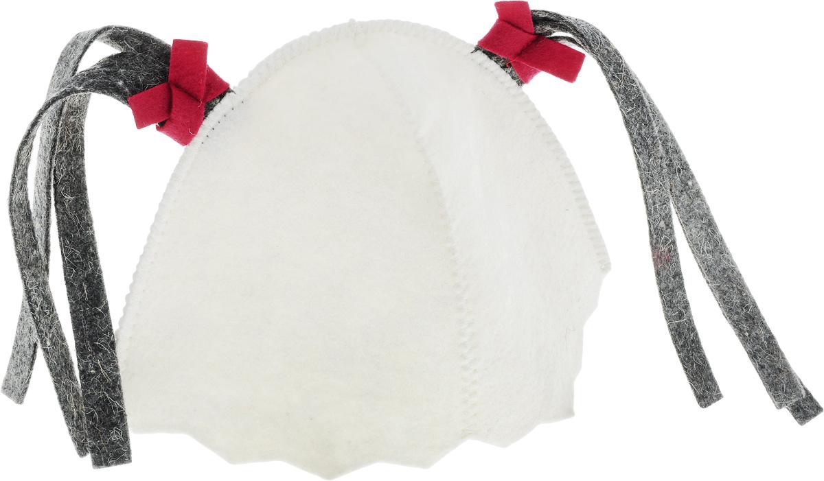 Шапка для бани и сауны Малышка. Б4501203658Шапка для бани и сауны Малышка, оформленная двумя декоративными косичками - этонезаменимый аксессуар для любителей попариться в русской бане и для тех, кто предпочитаетсухой жар финской бани. Необычный дизайн изделия поможет сделать ваш отдых болееприятным и разнообразным. Такая шапка станет отличным подарком для любителей отдыха в бане или сауне.Диаметр основания шапки: 29 см.Высота шапки: 19 см.