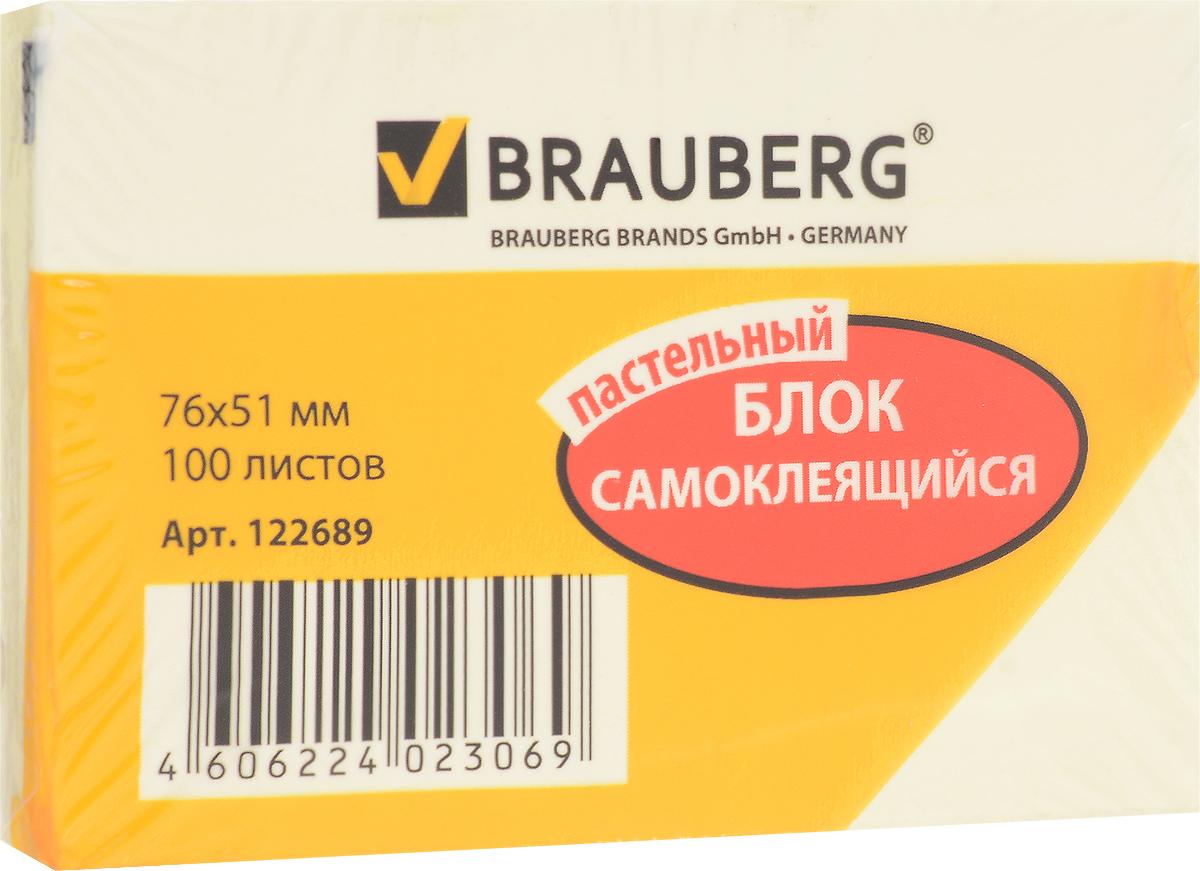 Brauberg Бумага для заметок с липким слоем 7,6 х 5,1 см цвет желтый 100 листов122689Яркие самоклеящиеся листочки Brauberg привлекают к себе внимание и удобны для заметок, объявлений и других коротких сообщений.Легко крепятся к любой поверхности, не оставляют следов после отклеивания.