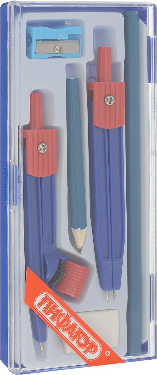 Пифагор Готовальня 6 предметов210239Готовальня Пифагор поставляется в пластиковом пенале с прозрачной крышкой. Включает в себя все необходимые предметы для учащихся.