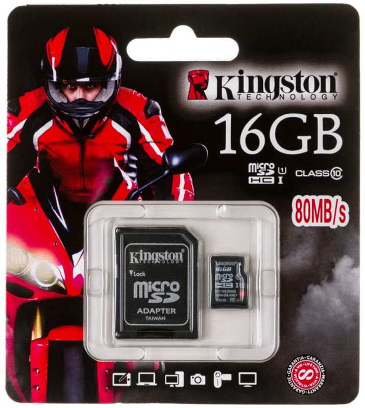 Kingston microSDHC Class 10 UHS-I 16GB карта памяти с адаптером карта памяти каркам microsdhc 16gb class 10