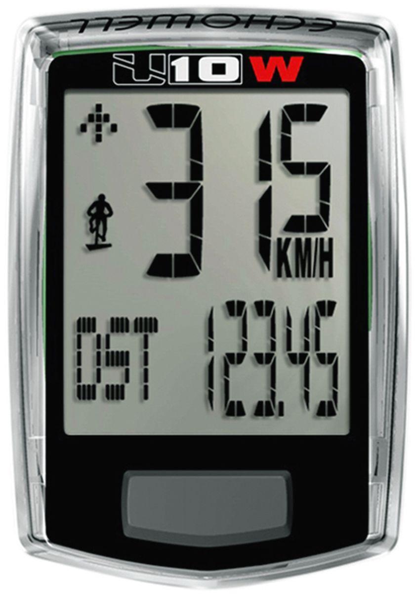 Велокомпьютер беспроводной Echowell U10W, цвет: черный, 10 функцийU10WБеспроводной велокомпьютер Echowell U10 W с десятью функциями (включая счетчик сэкономленных выбросов СО2) в стильном корпусе предназначен для использования при занятиях велоспортом, велотуризмом и просто катании на велосипеде. Это удобный и простой в использовании электронный прибор, предоставляющий велосипедисту всю необходимую информацию о поездке. Имеет отличную водо и пылезащиту. 10 функций:• Скорость текущая• Скорость средняя• Скорость максимальная• Дистанция поездки• Одометр• Время поездки• Изменение скорости по отношению к средней общей• Часы• Счетчик сокращенного выброса CO2• ТермометрВелокомпьютер состоит из двух частей соединенных проводом - дисплея, внешне похожего на электронные часы и датчика скорости. Дисплей крепится на руле с возможностью мгновенно отсоединить его, когда нет желания оставлять на велосипеде без присмотра или под дождем. Магнитный датчик скорости (геркон) крепится рядом с колесом. Скорость движения определяется с точностью до десятых долей, дистанцию с точностью до 10 метров. Счетчик сокращенного выброса СО2 отображает количество углекислого газа, которое удалось сократить за счет использования велосипеда. Велосипед в среднем экономит 0,17 г. СО2 на 1 км пути.• Водо- и пылезащита• Питание: от литиевой батарейки типа CR2032 (входит в комплект)