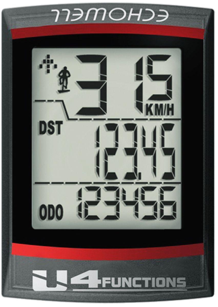 Велокомпьютер Echowell U4, цвет: черный, 10 функцийU4Проводной велокомпьютер Echowell U4 с четырьмя функциями в стильном корпусе предназначен для использования при занятиях велоспортом, велотуризмом и просто катании на велосипеде. Это удобный и простой в использовании электронный прибор, предоставляющий велосипедисту всю необходимую информацию о поездке. Имеет отличную водо и пылезащиту. 4 функции:• Скорость текущая• Скорость средняя• Дистанция поездки• ОдометрВелокомпьютер состоит из двух частей соединенных проводом - дисплея, внешне похожего на электронные часы и датчика скорости. Дисплей крепится на руле с возможностью мгновенно отсоединить его, когда нет желания оставлять на велосипеде без присмотра или под дождем. Магнитный датчик скорости (геркон) крепится рядом с колесом. Скорость движения определяется с точностью до десятых долей, дистанцию с точностью до 10 метров. • Водо- и пылезащита• Питание: от литиевой батарейки типа CR2032 (входит в комплект)