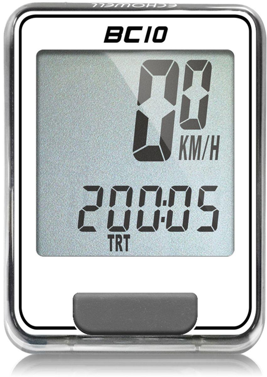 Велокомпьютер Echowell BC10, цвет: белый, 10 функцийBC-10_белыйСерия проводных велокомпьютеров Echowell BC-10 с десятью функциями в обновленном стильном корпусе предназначен для использования при занятиях велоспортом, велотуризмом и просто катании на велосипеде. Это удобный и простой в использовании электронный прибор, предоставляющий велосипедисту всю необходимую информацию о поездке. Имеет отличную водо и пылезащиту. Все операции и настройки выполняются одной кнопкой.10 функций: • Скорость текущая • Скорость средняя • Скорость максимальная • Дистанция поездки • Одометр • Время поездки • Общее время катания • Изменение скорости по отношению к средней общей• Часы • Скан (функция скан задействует режим показа всех функций на дисплее компьютера поочередно) Велокомпьютер состоит из двух частей - дисплея, внешне похожего на электронные часы и датчика скорости. Дисплей крепится на руле с возможностью мгновенно отсоединить его, когда нет желания оставлять на велосипеде без присмотра или под дождем. Магнитный датчик скорости (геркон) крепится рядом с колесом. Скорость движения определяется с точностью до десятых долей, дистанцию с точностью до 10 метров. • Водо и пылезащита • Питание: от литиевой батарейки типа CR2032 (входит в комплект)Гид по велоаксессуарам. Статья OZON Гид