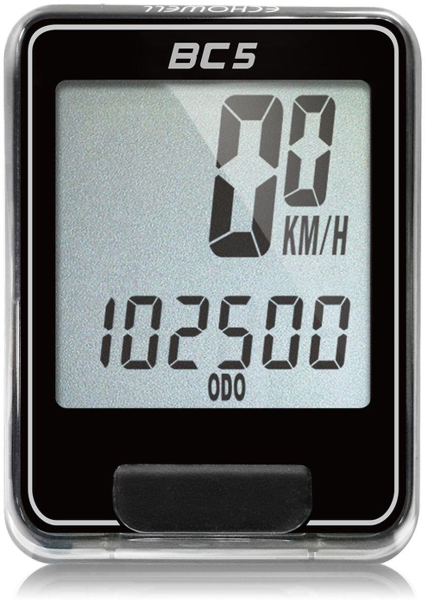 Велокомпьютер Echowell BC5, цвет: черный, 5 функцийBC-5Серия проводных велокомпьютеров Echowell BC-5 с пятью функциями в обновленном стильном корпусе предназначен для использования при занятиях велоспортом, велотуризмом и просто катании на велосипеде. Это удобный и простой в использовании электронный прибор, предоставляющий велосипедисту всю необходимую информацию о поездке. Имеет отличную водо и пылезащиту. Все операции и настройки выполняются одной кнопкой. 5 функций:• Скорость текущая• Дистанция поездки• Одометр• Часы• Скан (функция скан задействует режим показа всех функций на дисплее компьютера поочередно)Велокомпьютер состоит из двух частей - дисплея, внешне похожего на электронные часы и датчика скорости. Дисплей крепится на руле с возможностью мгновенно отсоединить его, когда нет желания оставлять на велосипеде без присмотра или под дождем. Магнитный датчик скорости (геркон) крепится рядом с колесом. Скорость движения определяется с точностью до десятых долей, дистанцию с точностью до 10 метров.• Водо и пылезащита• Питание: от литиевой батарейки типа CR2032 (входит в комплект)