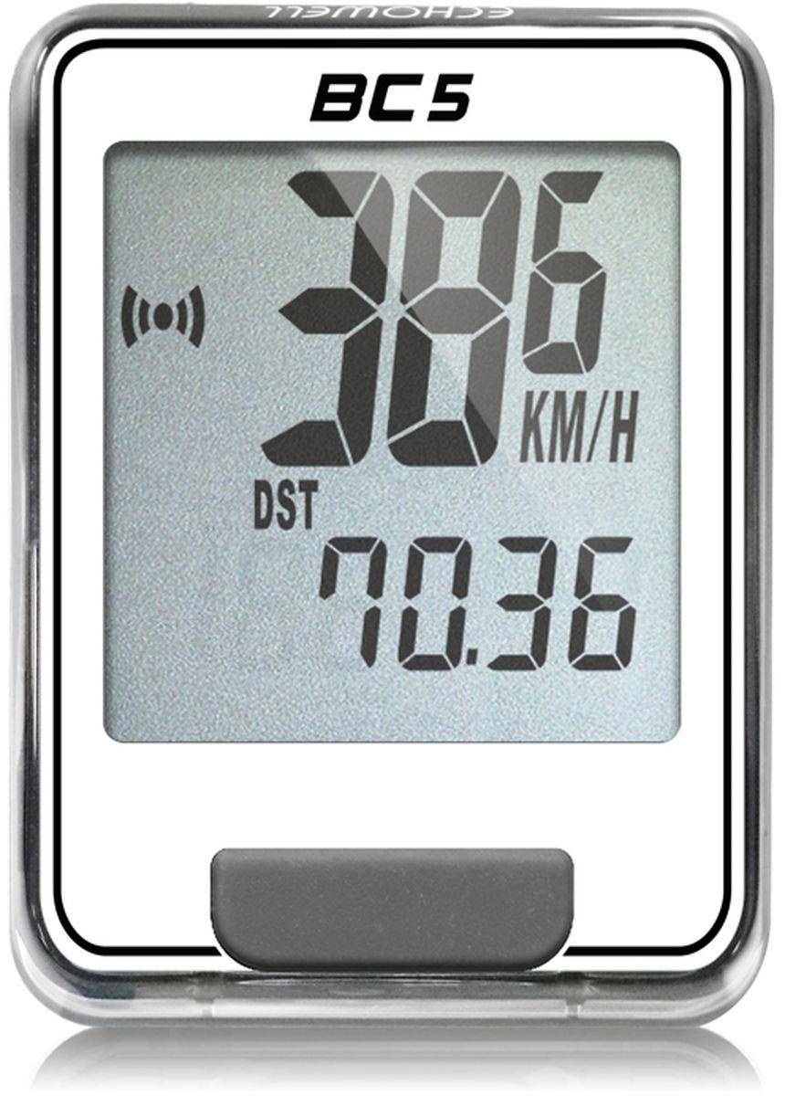 Велокомпьютер Echowell BC5, цвет: белый, 5 функцийBC-5_белыйСерия проводных велокомпьютеров Echowell BC-5 с пятью функциями в обновленном стильном корпусе предназначен для использования при занятиях велоспортом, велотуризмом и просто катании на велосипеде. Это удобный и простой в использовании электронный прибор, предоставляющий велосипедисту всю необходимую информацию о поездке. Имеет отличную водо и пылезащиту. Все операции и настройки выполняются одной кнопкой. 5 функций:• Скорость текущая• Дистанция поездки• Одометр • Часы•Скан (функция скан задействует режим показа всех функций на дисплее компьютера поочередно) Велокомпьютер состоит из двух частей - дисплея, внешне похожего на электронные часы и датчика скорости. Дисплей крепится на руле с возможностью мгновенно отсоединить его, когда нет желания оставлять на велосипеде без присмотра или под дождем. Магнитный датчик скорости (геркон) крепится рядом с колесом. Скорость движения определяется с точностью до десятых долей, дистанцию с точностью до 10 метров. • Водо и пылезащита • Питание: от литиевой батарейки типа CR2032 (входит в комплект)Гид по велоаксессуарам. Статья OZON Гид