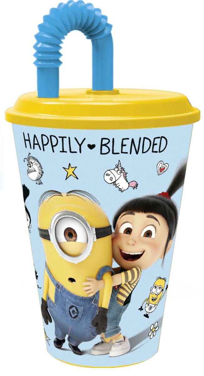Stor Стакан детский пластиковый с соломинкой и крышкой Гадкий я 3 430 мл смешарики стакан детский 280 мл