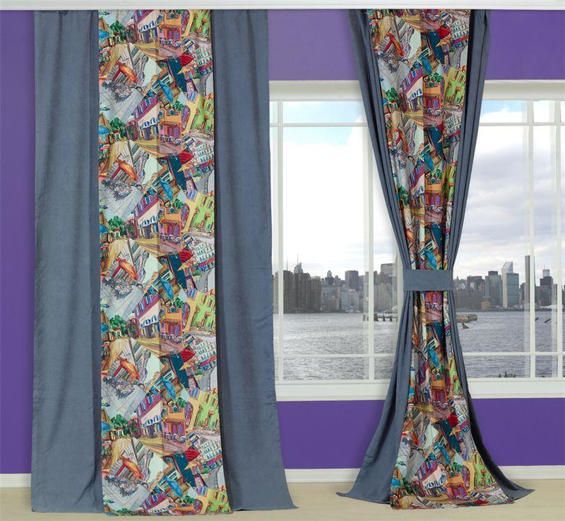 Комплект штор Apolena Городское кафе, на ленте, цвет: серо-голубой, оранжевый, высота 270 см08-9638/DКомплект штор Apolena состоит из двух полотен - однотонного и с рисунком. Шторы выполнены из инновационной ткани - микроволокно (100% полиэстер), имеют плюшевую бархатистую поверхность. За счет небольшого ворса (так называемый эффект персика), ткань выглядит объемной и очень мягкой. Уникальным свойством ткани является поглощение пыли, которая не оседает на поверхности, а проникает внутрь капиллярной структуры полотна. При задергивании штор пыль не летит во все стороны и впоследствии легко удаляется при стирке. Двойная штора - оригинальное дизайнерское решение. Полотна могут располагаться рядом друг с другом или одно поверх другого. Шторы можно крепить на круглый карниз или шину с помощью крючков.
