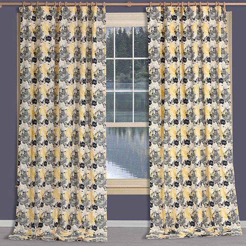 Штора Apolena Желтые цветы, на ленте, цвет: черный, серый, желтый, высота 270 см308-9981/1Штора Apolena выполнена из современной легкой гладкой ткани микрофибра (100% полиэстер). Изделие хорошо держит форму и защищает от яркого солнечного света. Ткань обладает эффектом поглощения пыли за счет своей капиллярной структуры. При задергивании штор пыль не летит во все стороны и впоследствии легко удаляется при стирке. Оригинальный дизайн шторы прекрасно сочетается с другими изделиями из одноименного интерьерного решения. Штора крепится к карнизу при помощи шторной ленты. Вы можете самостоятельно подобрать наиболее предпочтительный вид крючков для круглого карниза или шины. При желании вы можете присборить штору с помощью тесьмы, предварительно закрепив ее концы с обеих сторон.