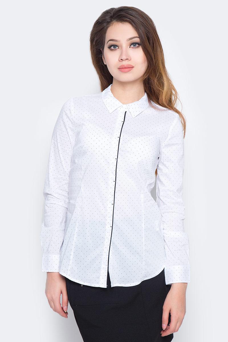 Рубашка женская Sela, цвет: белый. B-112/1300-7350. Размер 50 рубашка в мелкий горошек