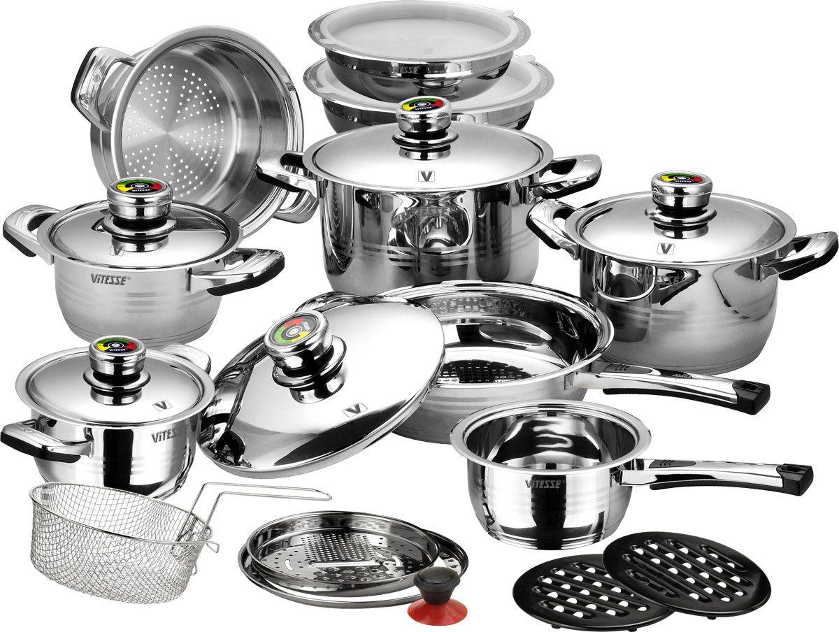 Набор посуды Vitesse Opaline, 23 предметаVS-1003Набор посуды Vitesse Opaline прекрасно подойдет для вашей кухни. Предметы набора изготовлены из высококачественной нержавеющей стали 18/10 с зеркальной полировкой. Набор включает: - четыре кастрюли с крышками: 1,7 л, 2,65 л, 3,9 л и 7 л, - сотейник с крышкой, - сковороду с крышкой, - пароварку, - корзину для жарки, - две чаши для смешивания продуктов с крышками из поливинилхлорида, - терку, - кольцо-адаптер, - две бакелитовые подставки, - ручку с вакуумной присоской. Характерные особенности:Термоаккумулирующее дно.Посуда оснащена капсулированным дном с прослойкой алюминия, которое обеспечивает наилучшее распределение тепла по поверхности посуды.Термические свойства ручек.Ручки кастрюль, сковороды, пароварки и сотейника изготовлены из бакелита термостойкого материала, который не нагревается даже при продолжительном приготовлении.Универсальность относительно источников тепла.Приготовление пищи в посуде Vitesse Opaline возможно на газовых, электрических, индукционных и стеклокерамических плитах. Также изделия можно мыть в посудомоечной машине.Термодатчик.Крышки кастрюль и сковороды имеют встроенный температурный датчик, который позволяет контролировать процесс приготовления. Шкала имеет градацию от 0°C до 120°C.Кромка анти-дрип.Форма кромки посуды предотвращает разливание жидкости. Благодаря правильной линии кромки в комбинации с крышкой обеспечивается максимальная герметизация между ними. Это способствует постоянству температуры внутри емкости и сохранению аромата приготовляемого блюда. Характеристики: Материал: сталь, бакелит. Внешний диаметр кастрюли по верхнему краю, объемом 7 л: 27,5 см. Внутренний диаметр кастрюли по верхнему краю, объемом 7 л: 24 см. Высота кастрюли (без крышки), объемом 7 л: 16 см. Внешний диаметр кастрюли по верхнему краю, объемом 3,9 л: 23,5 см. Внутренний диаметр кастрюли по верхнему краю, объемом 3,9 л: 20 см. Высота кастрюли (без крышки), объемом 3,9 л: 13 см. Внешний диаметр кастрюли по верх