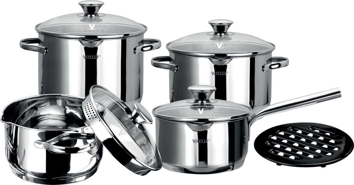 Набор посуды Vitesse Rosalia, 9 предметовVS-1029Набор посуды Vitesse Rosalia, изготовленный из высококачественной нержавеющей стали с зеркальной полировкой, состоит из трех кастрюль с крышками, сотейника с крышкой и подставки под горячее. Он прекрасно подойдет для вашей кухни.Кастрюли имеют многослойное термоаккумулирующее дно с прослойкой из алюминия, что обеспечивает равномерное распределение тепла.Особенности набора Vitesse Rosalia: На внутренней стороне кастрюль имеется шкала литража, что обеспечивает дополнительное удобство при приготовлении пищи.Прозрачные крышки, выполненные из термостойкого стекла, оснащены отверстиями для слива воды.Подставка под горячее выполнена из бакелита черного цвета. Прочная бакелитовая подставка на низких ножках позволит разместить кастрюлю в удобном для вас месте.На кромке кастрюль имеются два носика для слива воды, расположенные друг напротив друга.Набор подходит для газовых, электрических, стеклокерамических и индукционных плит и пригоден для мытья в посудомоечной машине. Характеристики: Материал:нержавеющая сталь, стекло, бакелит. Внутренний диаметр кастрюли объемом 4,4 л:20 см. Высота стенки кастрюли объемом 4,4 л:14,5 см. Внутренний диаметр кастрюли объемом 3,2 л:20 см. Высота стенки кастрюли объемом 3,2 л:10,5 см. Внутренний диаметр кастрюли объемом 2,9 л:18 см. Высота стенки кастрюли объемом 2,9 л:12 см. Внутренний диаметр сотейника объемом 1,6 л:16 см. Высота стенки сотейника:8,5 см. Длина ручки сотейника:18 см. Диаметр подставки под горячее: 17 см. Комплектация: 9 предметов. Размер упаковки: 44 см х 27 см х 25,5 см. Изготовитель: Китай. Артикул: VS-1029.Кухонная посуда марки Vitesse из нержавеющей стали 18/10 предоставит Вам все необходимое для получения удовольствия от приготовления пищи и принесет радость от его результатов. Посуда Vitesse обладает выдающимися функциональными свойствами. Легкие в уходе кастрюли и сковородки имеют плотно закрывающиеся крышки, которые дают возможность готовить с малым количеством воды и эк
