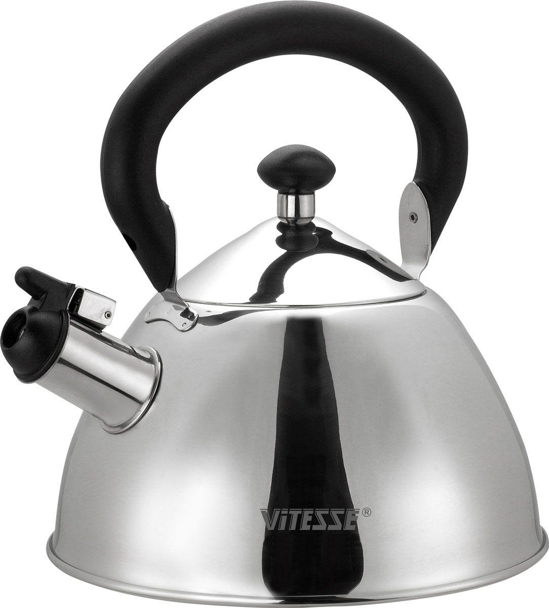 Чайник со свистком Vitesse Anouk, 2 лVS-1103Чайник Vitesse Anouk выполнен из высококачественной нержавеющей стали 18/10. Капсулированное дно с прослойкой из алюминия обеспечивает наилучшее распределение тепла. Носик чайника оснащен откидной насадкой-свистком, что позволит вам контролировать процесс подогрева или кипячения воды. Подвижная ручка чайника изготовлена из бакелита.Чайник Vitesse Anouk подходит для использования на всех типах плит. Также изделие можно мыть в посудомоечной машине. Характеристики: Материал: нержавеющая сталь 18/10, бакелит.Диаметр основания чайника: 20 см.Высота чайника (с учетом крышки и ручки):22,5 см.Объем:2 л.Размер упаковки:20,5 см х 17 см х 20,5 см. Артикул:VS-1103.Кухонная посуда марки Vitesseиз нержавеющей стали 18/10 предоставит вам все необходимое для получения удовольствия от приготовления пищи и принесет радость от его результатов. Посуда Vitesse обладает выдающимися функциональными свойствами. Легкие в уходе кастрюли и сковородки имеют плотно закрывающиеся крышки, которые дают возможность готовить с малым количеством воды и экономией энергии, и идеально подходят для всех видов плит: газовых, электрических, стеклокерамических и индукционных. Конструкция дна посуды гарантирует быстрое поглощение тепла, его равномерное распределение и сохранение. Великолепно отполированная поверхность, а также многочисленные конструктивные новшества, заложенные во все изделия Vitesse, позволит вам открыть новые горизонты приготовления уже знакомых блюд. Для производства посуды Vitesseиспользуются только высококачественные материалы, которые соответствуют международным стандартам.
