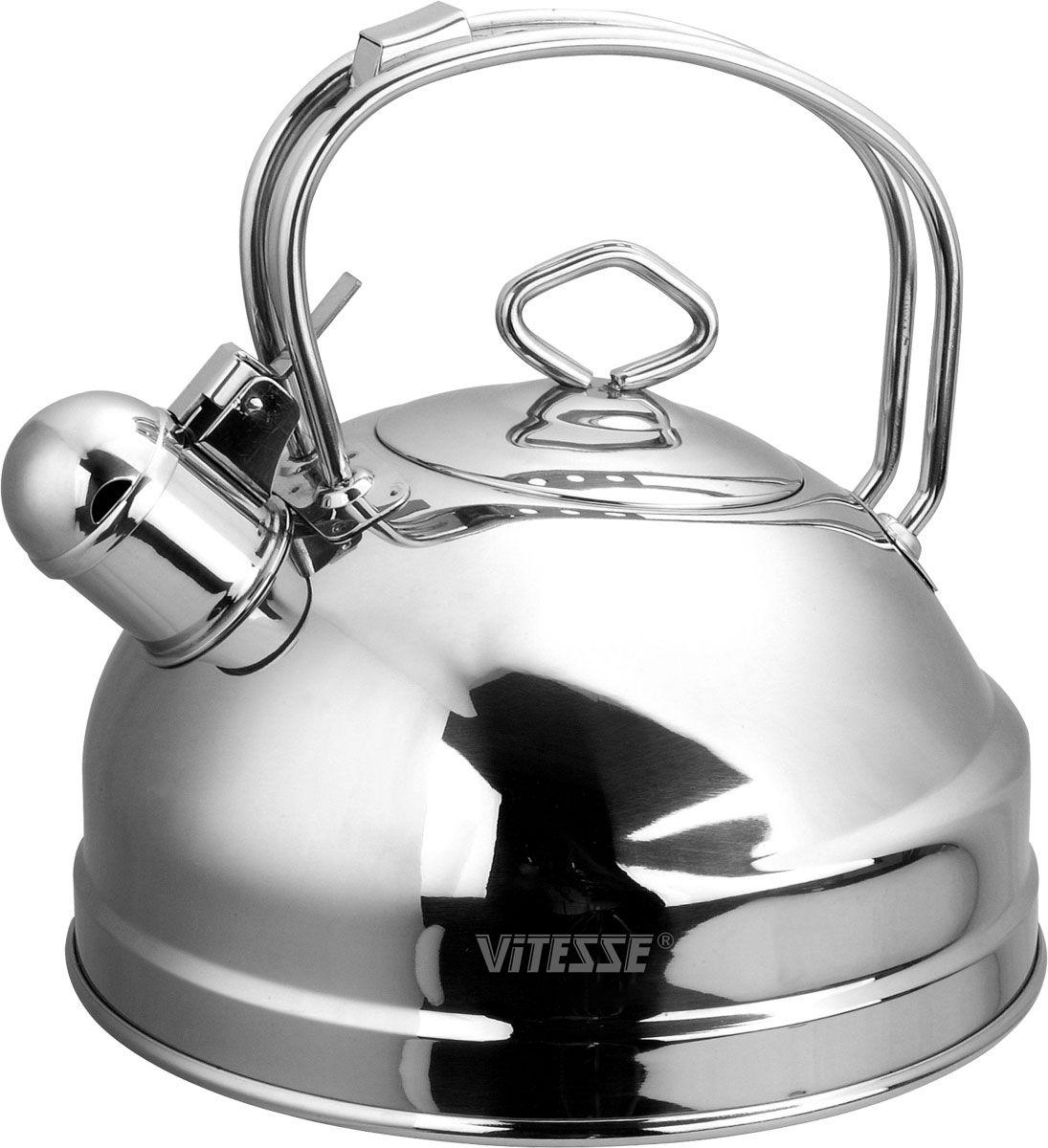 Чайник Vitesse Nayer со свистком, 2,5 лVS-1106-1Чайник Vitesse Nayer выполнен из высококачественной нержавеющей стали 18/10. Капсулированное дно с прослойкой из алюминия обеспечивает наилучшее распределение тепла. Носик чайника оснащен откидной насадкой-свистком, что позволит вам контролировать процесс подогрева или кипячения воды. Ручка не нагревается, имеет фиксированное положение. Чайник Vitesse Nayer подходит для использования на всех типах плит. Также изделие можно мыть в посудомоечной машине. Характеристики: Материал: нержавеющая сталь 18/10.Диаметр основания чайника: 20 см.Высота чайника (с учетом крышки и ручки):22 см.Объем:2,5 л.Размер упаковки:20,5 см х 20,5 см х 22,5 см. Изготовитель:Китай. Артикул:VS-1106.Кухонная посуда марки Vitesseиз нержавеющей стали 18/10 предоставит вам все необходимое для получения удовольствия от приготовления пищи и принесет радость от его результатов. Посуда Vitesse обладает выдающимися функциональными свойствами. Легкие в уходе кастрюли и сковородки имеют плотно закрывающиеся крышки, которые дают возможность готовить с малым количеством воды и экономией энергии, и идеально подходят для всех видов плит: газовых, электрических, стеклокерамических и индукционных. Конструкция дна посуды гарантирует быстрое поглощение тепла, его равномерное распределение и сохранение. Великолепно отполированная поверхность, а также многочисленные конструктивные новшества, заложенные во все изделия Vitesse, позволит вам открыть новые горизонты приготовления уже знакомых блюд. Для производства посуды Vitesseиспользуются только высококачественные материалы, которые соответствуют международным стандартам.