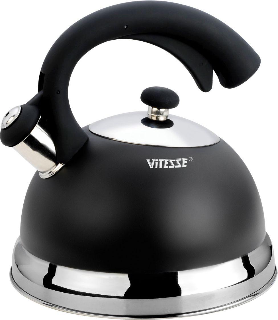 Чайник Vitesse, со свистком, цвет: черный, 2,5 лVS-1116-blackЧайник Vitesse выполнен из высококачественной нержавеющей стали 18/10. Капсулированноедно с прослойкой из алюминия обеспечивает наилучшее распределение тепла. Носик чайникаоснащен откидной насадкой-свистком, что позволит вам контролировать процесс подогрева иликипячения воды. Чайник имеет элегантное цветное покрытие корпуса с надписью Vitesse набоковой стенке. Ручка чайника изготовлена из нержавеющей стали с силиконовым покрытием.Она имеет фиксированное положение.Чайник Vitesse подходит для использования на всех типах плит, включая индукционные. Такжеизделие можно мыть в посудомоечной машине.Диаметр основания чайника: 21 см.Высота чайника (с учетом крышки и ручки): 23 см. Объем: 2,5 л.