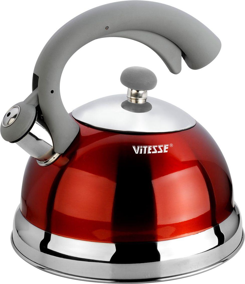 Чайник Vitesse со свистком, цвет: красный, 2,5 лVS-1116-redЧайник Vitesse выполнен из высококачественной нержавеющей стали 18/10. Капсулированное дно с прослойкой из алюминия обеспечивает наилучшее распределение тепла. Носик чайника оснащен откидной насадкой-свистком, что позволит вам контролировать процесс подогрева или кипячения воды. Чайник имеет элегантное цветное покрытие корпуса. Ручка чайника изготовлена из нержавеющей стали с силиконовым покрытием. Она имеет фиксированное положение. Чайник Vitesse подходит для использования на всех типах плит. Также изделие можно мыть в посудомоечной машине. Характеристики: Материал: нержавеющая сталь 18/10, силикон.Диаметр основания чайника: 21 см.Высота чайника (с учетом крышки и ручки):23 см.Объем:2,5 л.Размер упаковки:22 см х 21,5 см х 22 см. Изготовитель:Китай. Артикул:VS-1116.Кухонная посуда марки Vitesseиз нержавеющей стали 18/10 предоставит вам все необходимое для получения удовольствия от приготовления пищи и принесет радость от его результатов. Посуда Vitesse обладает выдающимися функциональными свойствами. Легкие в уходе кастрюли и сковородки имеют плотно закрывающиеся крышки, которые дают возможность готовить с малым количеством воды и экономией энергии, и идеально подходят для всех видов плит: газовых, электрических, стеклокерамических и индукционных. Конструкция дна посуды гарантирует быстрое поглощение тепла, его равномерное распределение и сохранение. Великолепно отполированная поверхность, а также многочисленные конструктивные новшества, заложенные во все изделия Vitesse, позволит вам открыть новые горизонты приготовления уже знакомых блюд. Для производства посуды Vitesseиспользуются только высококачественные материалы, которые соответствуют международным стандартам.