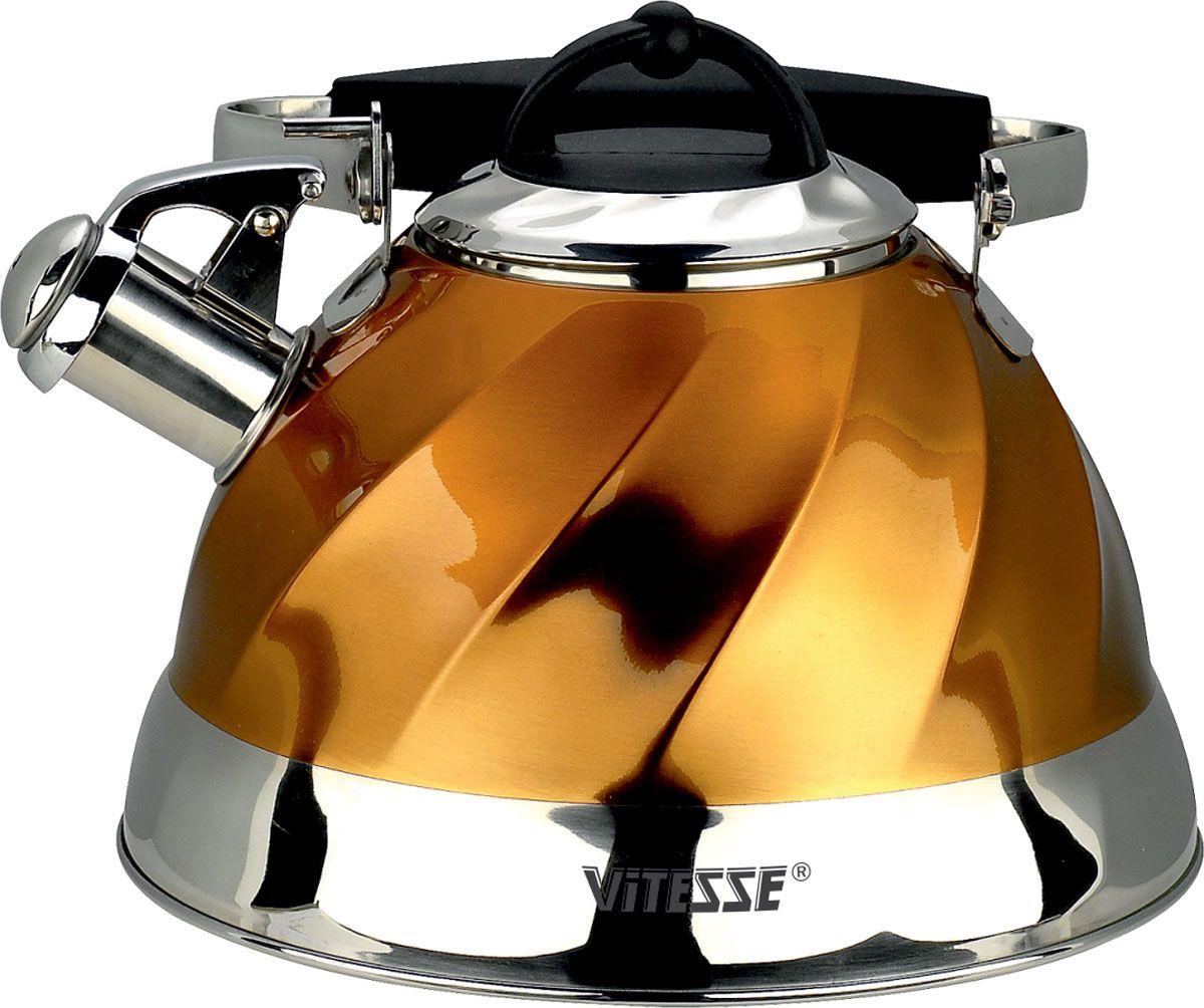 Чайник Vitesse Thelma, со свистком, цвет: желтый, 3 лVS-1119-goldЧайник Vitesse Thelma изготовлен из высококачественной нержавеющей стали 18/10. Внешнее цветное термостойкое покрытие корпуса придает изделию безупречный внешний вид. Многослойное капсулированное термоаккумулирующее дно позволяет чайнику нагреваться быстрее и дольше сохранять тепло. Чайник оснащен металлической ручкой эргономичной формы с силиконовым покрытием черного цвета. Крышка оснащена ручкой из термостойкого бакелита. Чайник также имеет свисток, громко оповещающий о закипании воды. Свисток имеет оригинальный механизм подъема: свисток поднимается, когда ручка чайника находится в вертикальном положении. Это обеспечивает безопасность эксплуатации и предотвращение ожогов. Можно использовать на газовых, электрических, стеклокерамических, галогенных, индукционных плитах. Можно мыть в посудомоечной машине. Характеристики:Материал: нержавеющая сталь 18/10, бакелит, силикон. Цвет: желтый. Объем: 3 л. Диаметр (по верхнему краю): 10 см. Диаметр основания: 22 см. Высота стенки (без учета крышки): 13 см.