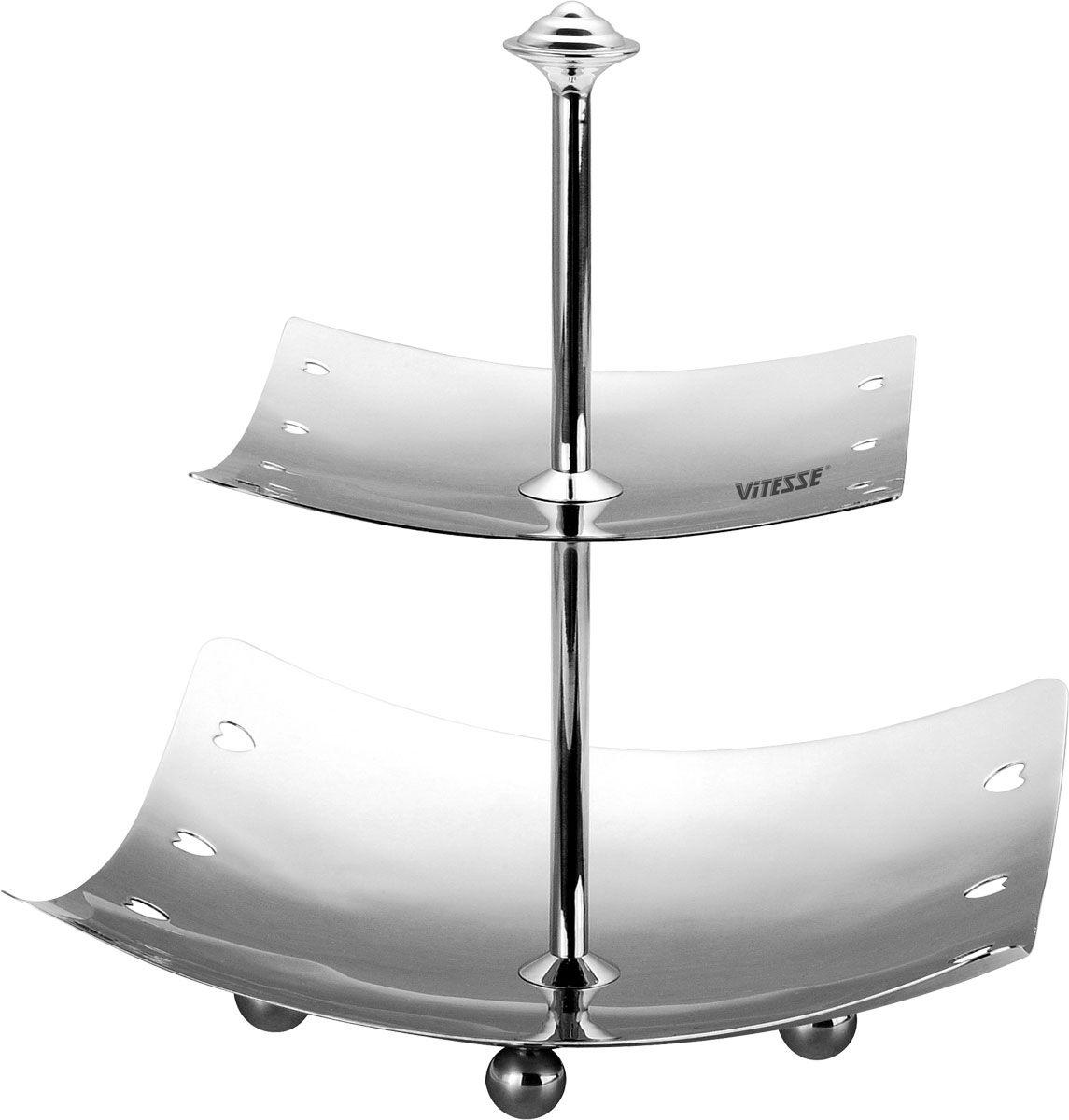 Поднос двухярусный Vitesse RaineVS-1295Двухярусный поднос Raine изготовленный из высококачественной нержавеющей стали с полировкой, станет незаменимым атрибутом при сервировке праздничного стола. На нижнем ярусе подноса имеются три ножки, выполненные в виде шариков, что придает подносу устойчивости. Современный стильный дизайн и функциональность позволят подносу занять достойное место на Вашей кухне.Характеристики: Высота подноса:25 см. Размер нижнего яруса:23 см x 23 см. Размер верхнего яруса:16 см x 16 см. Толщина материала:0,6 мм. Материал:нержавеющая сталь.Артикул:VS-1295.Кухонная посуда марки Vitesseиз нержавеющей стали 18/10 предоставит Вам все необходимое для получения удовольствия от приготовления пищи и принесет радость от его результатов. Посуда Vitesse обладает выдающимися функциональными свойствами. Легкие в уходе кастрюли и сковородки имеют плотно закрывающиеся крышки, которые дают возможность готовить с малым количеством воды и экономией энергии, и идеально подходят для всех видов плит: газовых, электрических, стеклокерамических и индукционных. Конструкция дна посуды гарантирует быстрое поглощение тепла, его равномерное распределение и сохранение. Великолепно отполированная поверхность, а также многочисленные конструктивные новшества, заложенные во все изделия Vitesse, позволит Вам открыть новые горизонты приготовления уже знакомых блюд. Для производства посуды Vitesseиспользуются только высококачественные материалы, которые соответствуют международным стандартам.УВАЖАЕМЫЕ КЛИЕНТЫ! Товар поставляется в разобранном виде.