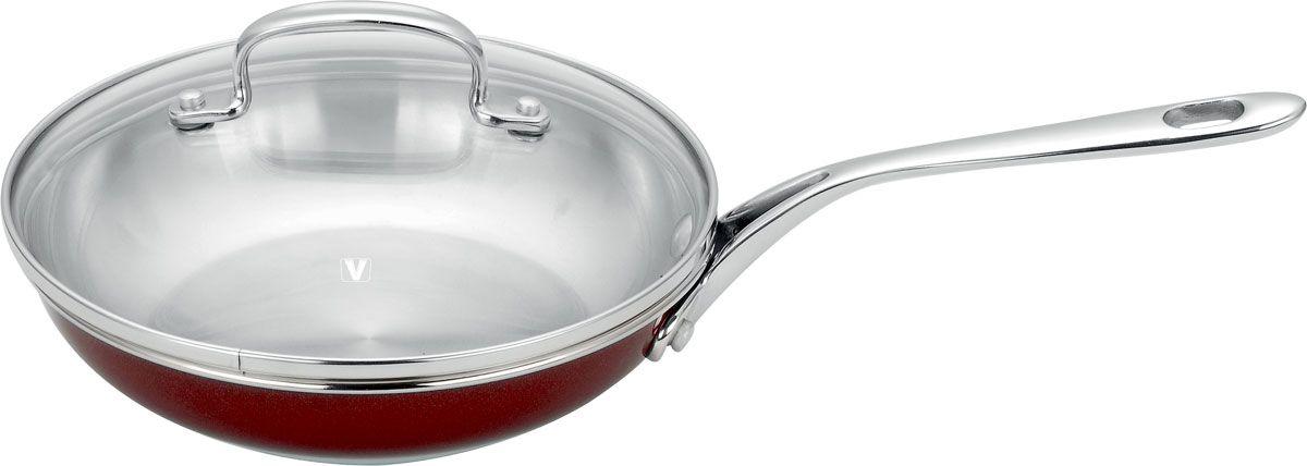 Сковорода Vitesse Dahlia, цвет: бордовый. Диаметр 24,5 смVS-1489-redСковорода Vitesse Dahlia, изготовленная из высококачественной нержавеющей стали 18/10, предоставит вам все необходимое для получения удовольствия от приготовления пищи и принесет радость от его результатов. Многослойное термоаккумулирующее дно сковороды с прослойкой из алюминия обеспечивает наилучшее распределение тепла. Прозрачная крышка, выполненная из термостойкого стекла с клапаном для выпуска пара, позволяет следить за процессом приготовления пищи, а литые ручки, крепящиеся заклепками, обеспечивают удобство при эксплуатации. Форма кромки сковороды предотвращает разливание жидкости, а благодаря правильности линий кромки в комбинации с крышкой обеспечивается максимальная герметизация между ними. Наружная поверхность сковороды отделана бордовым полиэстеровым покрытием, что придает ей нотки благородности и изысканности. Сковорода подходит для всех типов плит, кроме индукционных, можно использовать в духовке и мыть в посудомоечной машине. Характеристики: Материал:нержавеющая сталь, стекло. Диаметр сковороды: 24,5 см. Диаметр диска сковороды: 17 см. Высота стенки сковороды: 6 см. Длина ручки: 21,5 см. Объем: 2,5 л. Толщина стенок: 0,6 мм. Размер упаковки: 46 см х 26 см х 12 см.Артикул:VS-1489.Кухонная посуда марки Vitesseиз нержавеющей стали 18/10 предоставит Вам все необходимое для получения удовольствия от приготовления пищи и принесет радость от его результатов. Посуда Vitesse обладает выдающимися функциональными свойствами. Легкие в уходе кастрюли и сковородки имеют плотно закрывающиеся крышки, которые дают возможность готовить с малым количеством воды и экономией энергии, и идеально подходят для всех видов плит: газовых, электрических, стеклокерамических и индукционных. Конструкция дна посуды гарантирует быстрое поглощение тепла, его равномерное распределение и сохранение.Великолепно отполированная поверхность, а также многочисленные конструктивные новшества, заложенные во все изделия Vitesse, п