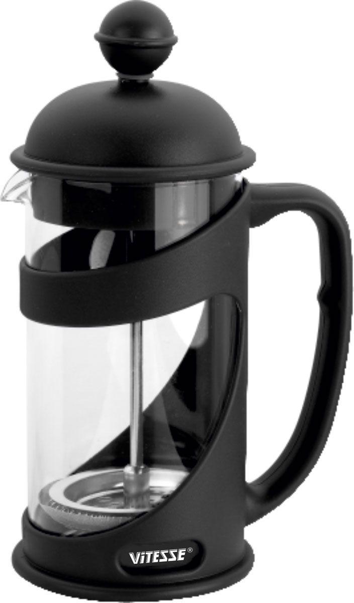 Кофеварка Vitesse Cora 0,4л VS-1656VS-1656Кофеварка Vitesse Cora с фильтром френч-пресс займет достойное место на вашей кухне. Колба кофеварки изготовлена из термостойкого стекла. Она оформлена ободом и прочного пластика с удобной нескользящей ручкой. Фильтр френч-пресс выполнен из нержавеющей стали. К кофеварке прилагается пластиковая мерная ложечка. Изделие пригодно для мытья в посудомоечной машине. Настоящим ценителям натурального кофе широко известны основные и наиболее часто применяемые способы его приготовления: эспрессо, по-турецки, гейзерный. Однако существует принципиально иной способ, известный как french press, благодаря которому приготовление ароматного напитка стало гораздо проще.Метод french press прост: в теплый кофейник насыпают кофе грубого помола и заливают горячей водой. После того, как напиток настоится 3-5 минут, гущу отделяют поршнем с сеткой - и кофе готов! Эксперты считают, что такой способ позволяет получить максимально ароматный и нежный кофе - ведь он не перегревается, не подвергается воздействию высокого давления и не проходит через бумажный фильтр. Результат - напиток с максимально чистым вкусом Характеристики:Материал:нержавеющая сталь, стекло, пластик. Объем:400 мл. Высота (с учетом крышки):19 см. Размер упаковки:11 см х 19,5 см х 9 см.Артикул:VS-1656. Кухонная посуда марки Vitesseиз нержавеющей стали 18/10 предоставит Вам все необходимое для получения удовольствия от приготовления пищи и принесет радость от его результатов. Посуда Vitesse обладает выдающимися функциональными свойствами. Легкие в уходе кастрюли и сковородки имеют плотно закрывающиеся крышки, которые дают возможность готовить с малым количеством воды и экономией энергии, и идеально подходят для всех видов плит: газовых, электрических, стеклокерамических и индукционных. Конструкция дна посуды гарантирует быстрое поглощение тепла, его равномерное распределение и сохранение. Великолепно отполированная поверхность, а также многочисленные конструктивные новшества, заложенные