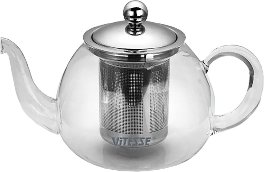 Чайник заварочный Vitesse Cindy, с фильтром, 800 мл. VS-1673MB4027_черныйЗаварочный чайник Cindy, выполненный из термостойкого стекла, послужит вам нетолько для приготовления чая, но и для подачи чая к столу. Благодаря резервуару изпрозрачного стекла можно легко определить момент закипания воды, а также количествооставшегося чая в заварочном чайнике. Крышка и фильтр чайника, отделяющий чайныелистья от воды, выполнены из высококачественной нержавеющей стали. Горлышко и ручкачайника изготовлены вручную.Эстетичный и функциональный, с эксклюзивным дизайном, чайник дополнит интерьер ипридаст ему оригинальности.Чайник можно использовать на электрической, газовой и стеклокерамической плитах втом случае, если диаметр дна чайника больше или совпадает с диаметром конфоркиплиты.Высота чайника (без учета крышки): 9 см. Диаметр основания чайника: 10 см.