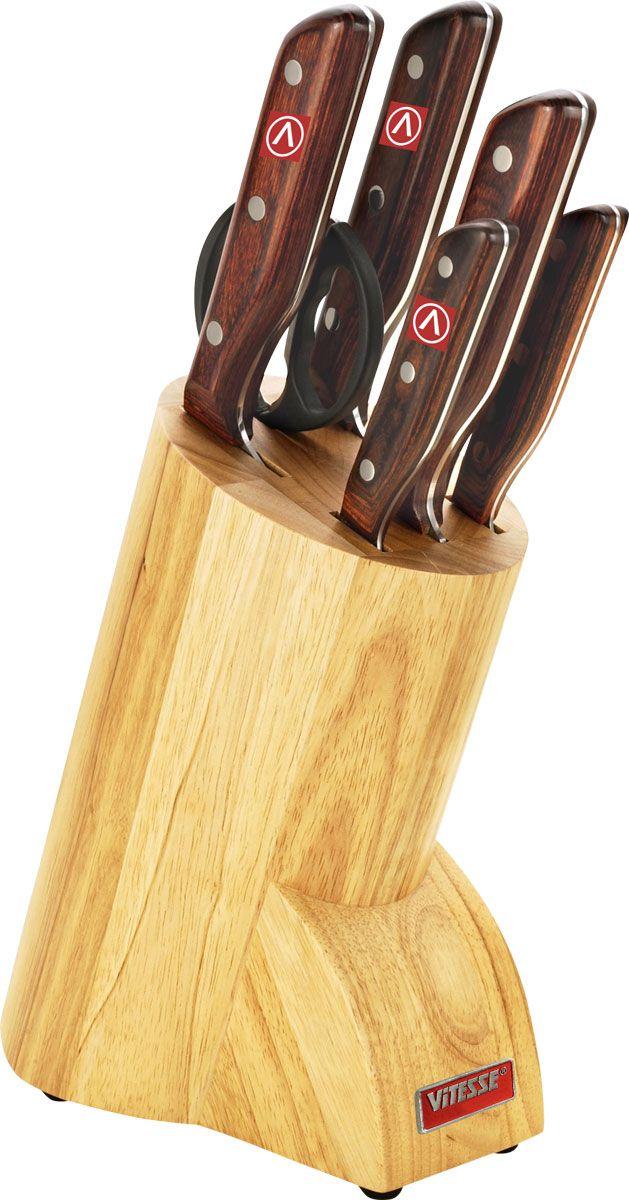 Набор ножей Vitesse Gazelle на подставке, 7 предметов.VS-1727VS-1727Набор Vitesse Gazelle предоставит вам все необходимые возможности вуспешном приготовлении пищи и порадует вас своими результатами.При изготовлении ножей используется высоко-углеродистая каленая сталь AISI420J2, которая обеспечивает высокие режущие свойства кромки клинка. Сечениеклинка ножей - клинообразно, что позволяет режущей кромке бытьпродолжительное время острой. Рукоятка ножей изготовлена извысококачественной древесины, ножниц - из пластика. Предметы набора компактно размещаются в стильной подставке, котораявыполнена из высококачественной древесины с полимерным покрытием.Физические и практические свойства данного материала гарантируютдлительный эксплуатационный период. Набор включает в себя: Нож поварской - гибкость у окончанияклинка позволяет нарезать; утолщенное основание клинка позволяет рубитьмясо, рыбу, овощи и фрукты. Плоской поверхностью клинка можно давить чеснокили отбивать мясо. Обух клинка можно применять для дробления костей.Нож для хлеба - нож с зубчатой кромкой лезвия применяется для нарезки каксвежих, так и черствых хлебобулочных изделий. При резке таким ножом мякишизделия не нарушается. Нож применяется для резки рогаликов, булочек,бубликов и рулетов.Нож для нарезки - идеальный инструмент для нарезкимяса для жаркого, ветчины и других сортов мяса.Нож универсальный -применяется для нарезки фруктов, сыра и приготовления бутербродов.Нож для чистки и резки - используется для чистки овощей и фруктов,приготовления гарниров и салатов. Также применяется для отделения костей вптице или рыбе.Ножницы - для разделывания птицы. Характеристики: Материал:нержавеющая сталь, дерево, пластик. Длиналезвия поварского ножа: 20 см. Общая длина поварского ножа:35 см. Длина лезвия ножа для хлеба: 22,5 см. Общая длинаножа для хлеба: 37,5 см. Длина лезвия ножа для нарезки: 20 см.Общая длина ножа для нарезки: 35 см. Длина лезвияуниверсального ножа: 12,5 см. Общая длина универсального ножа:24 см. Длина лезв